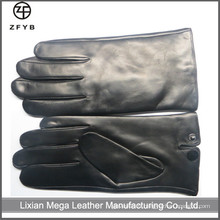 ZF5035 Black Color Hommes cheveux mouton Leather Touchscreen Gloves