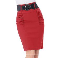 Kate Kasin Mujer Shirred Detalle Alto Estiramiento Falda Lápiz Rojo KK000271-3