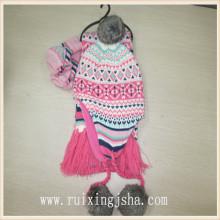 Дети девочки зимние трикотажные Розовые перчатки и шарф набор