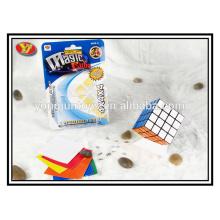 YJ 4x4 гладкие новые 4x4x4 черный Speed Cube Puzzle ПВХ наклейки