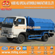 DONGFENG 4x2 5CBM LHD hook arm garbage truck 95hp cheap price for sale In China