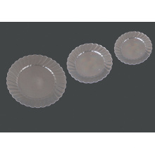 """Round Hard Plastic Silver Party Plate 6"""""""