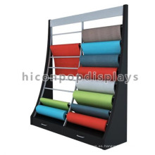 Tienda de productos para pisos Rejilla de madera de pie libre Rejilla de metal para colgar mosquetón Rolling Display Rack
