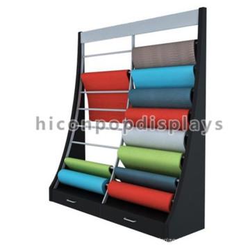 Bodenbelag Produkte Store Freistehende schräge Holzrahmen Metall hängende Teppich Sample Rolling Display Rack
