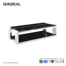 Table basse carrée en verre de texture de marbre d'Orizeal (OZ-OTB015)