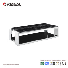 Orizeal Marble Texture Large Glass Square Coffee Table (OZ-OTB015)