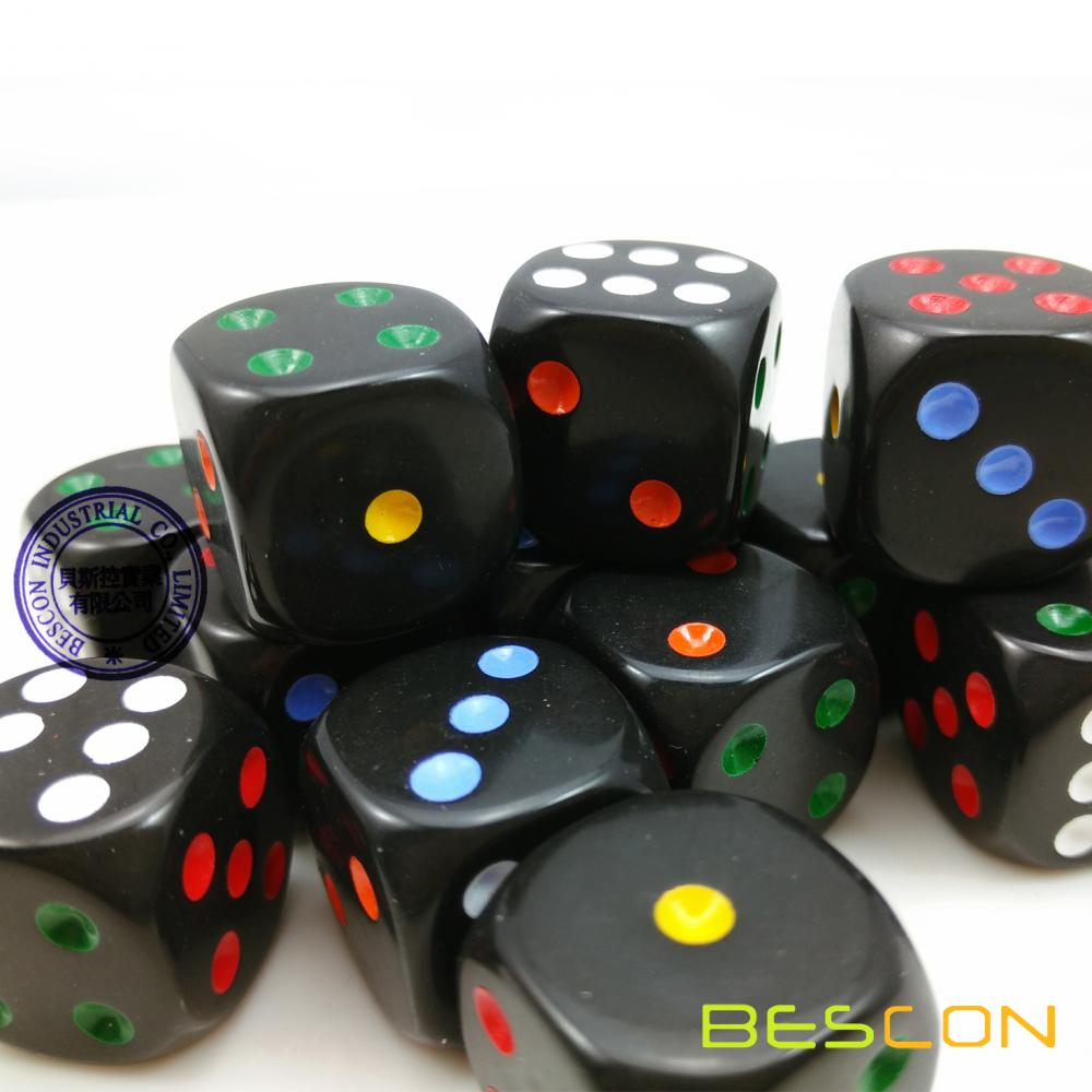 Beautiful Round 19MM Rainbow Spot Dice 3/4""