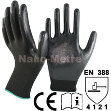 NMSAFETY Schwarzer Nylon-Liner beschichtete schwarze glatte Nitril-Arbeitsschutzhandschuhe