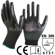 NMSAFETY Forro de nylon preto revestido de luvas de segurança de trabalho de nitrilo liso preto