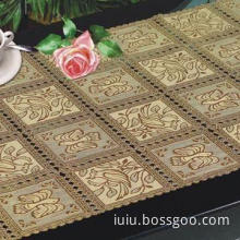Golden Lace Wedding Table Linen with Color Printing, Various Colors Available