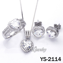 Micro Pave Heart CZ 925 Sterling Silver Jewelry (YS-2114)