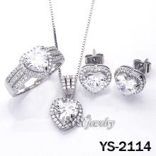 Серьги Micro Pave Heart CZ 925 (стерлинговое серебро) (YS-2114)