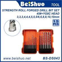 15PCS DIN338 HSS Twist Drill Bits Set avec haute qualité