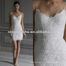 Vestido de noiva com renda de renda e lã com linho preto e branco