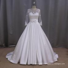 A-Line Satin Applique Wedding Dress