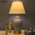 Hot sell hotel metal table lamps with classical shade for wholesale