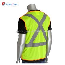 Venta al por mayor de alta visibilidad chaleco de seguridad de color naranja amarillo chaleco de bolsillo Hi-Vis ropa de trabajo con X-Back cintas reflectantes delante cremallera