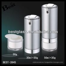 botella redonda de los tarros de acrílico de la bomba, botella de acrílico de los tarros de la bomba de plata, botella de los tarros de acrílico de la bomba 50ml + 30g