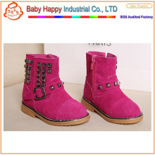Class design genuine leather breathable kid shoes for girls