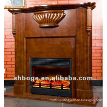 good artistic brown MDF wooden electric fireplace mantel