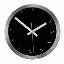 Aluminum Metal Wall Clock in Round Shape, Wallpaper Background of Clock Can Be Changed
