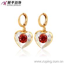 Moda elegante ventas calientes en forma de corazón CZ multicolor joyería de imitación pendiente de la gota del oído-28336