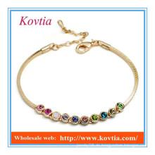 Mode 18k Gold multicolor Kristall Link Charme Leder Armband Silikon Armband