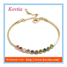 Fashion 18k gold multicolor crystal link charm leather bracelet silicon bracelet