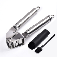 stainless steel silicone garlic press and peeler