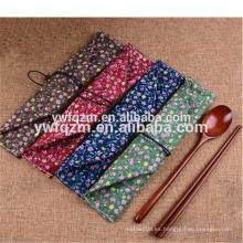 Conjunto de viaje de embalaje de bolsa de tela Conjunto de cuchara de logotipo personalizado de madera con palillo