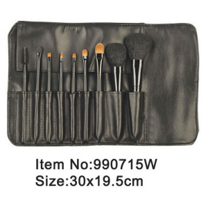 9pcs black plastic animal/nylon hair makeup brush kit with same color PU purse