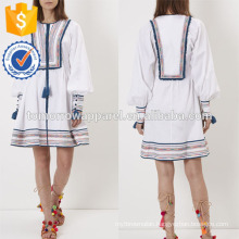 New Fashion White Embroidered Dress Manufacture Wholesale Fashion Women Apparel (TA5242D)