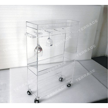 Rolling Acrylic Storage Rack Wine Glass Holder