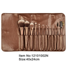 12pcs metal brown plastic handle animal/nylon hair makeup brush set with brown PU case