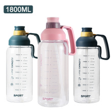 1.8L large capacity leak proof gym fitness water jug with straw plastic water bottle sports