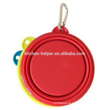 Heißer Verkauf FDA Standard-China-Hersteller Lustiger Reise-Hund faltbarer Silikon-Haustier-Schüssel / zusammenklappbarer Haustier-Schüssel