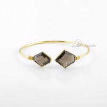 Smoky Quartz Gold Bangle, fornecedor por atacado para Gemstone Bangle Jewelry