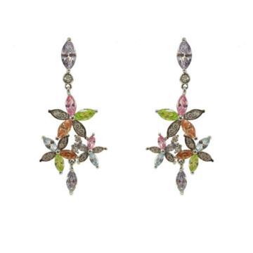Boucles d'oreilles pendantes CZ multicolores en argent sterling 925