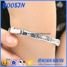Brazalete de hoja de bambú de plata ajustable 925 personalizado de fábrica