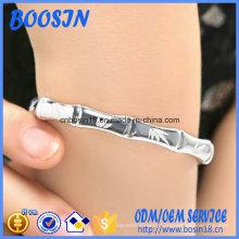 Factory Custom Ajustable 925 Silver Bamboo Leaf Bangle