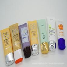 Varios piel plástico tubo cosmético con Oval plano
