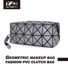 Bolsa clutch em PVC bolsa cosmética com zíper para maquiagem geométrica