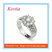 NEWEST moda grossa ouro branco anéis de noivado fictício