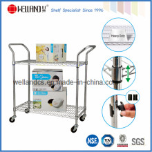 Adjustable Heavy Duty Chrome Metal Wire Utility Trolley (CJ-A1213)
