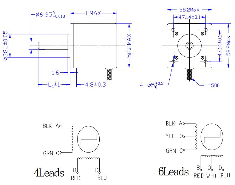 8 leads nema 23 stepper motors / uni polar bipolar stepper motors