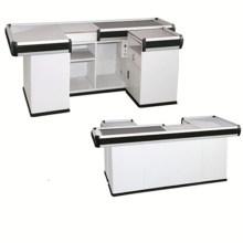 Metallic Supermarket Checkout Counter with Conveyor Belt