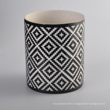 Hand Made Round Ceramic Candle Jar with Black Pattern Finish