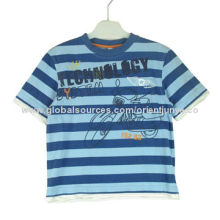 Baby T-shirt with Print and Embroidery, Made of 100% Cotton, Yarn-dyed Single Jersey, Garment Washed