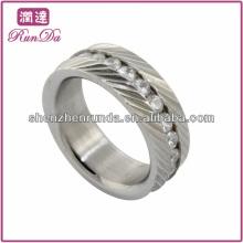 Anel de aço inoxidável de qualidade quente zircônia cúbica rodada anéis para homens