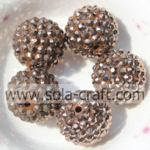 18*20MM Acrylic Resin Rhinestone Ball Beads Necklace Finding Copper